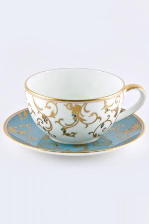Чашка 300 мл, блюдце 16 см Narumi. Цвет: голубой, золотой