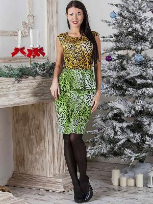 Платье MARY MEA. Цвет: зеленый, горчичный