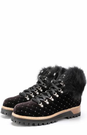 Бархатные стеганые ботинки на шнуровке Le Silla. Цвет: черный