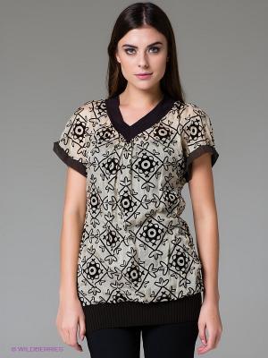 Блузка FRACOMINA. Цвет: светло-бежевый, темно-коричневый