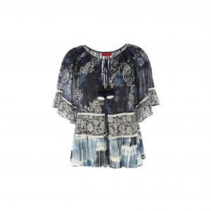 Блузка с короткими рукавами и рисунком RENE DERHY. Цвет: темно-синий