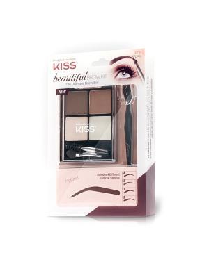 Kiss Набор для моделирования бровей Beautiful  Brow Kit KPLK02C. Цвет: светло-коричневый, бледно-розовый, коричневый