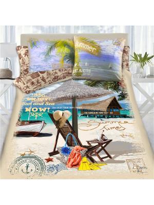 Комплект постельного белья 1,5 сп MONA LIZA&SergLook Lounger Liza. Цвет: бирюзовый, рыжий, светло-зеленый