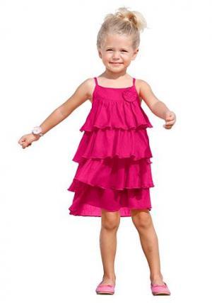 Платье на бретелях с воланами CFL. Цвет: розовый
