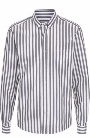 Хлопковая рубашка в полоску с воротником button down Ami. Цвет: черно-белый
