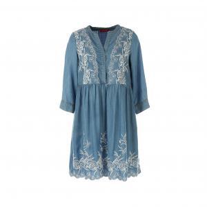 Платье с рукавами 3/4 из денима вышивкой RENE DERHY. Цвет: синий