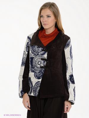 Куртка Coline. Цвет: коричневый, молочный, синий