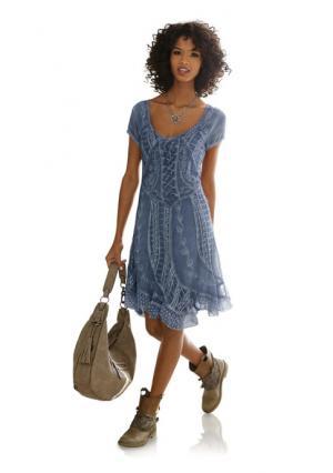 Платье LINEA TESINI by Heine. Цвет: джинсовый синий