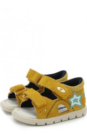 Замшевые сандалии с застежками велькро Falcotto. Цвет: желтый
