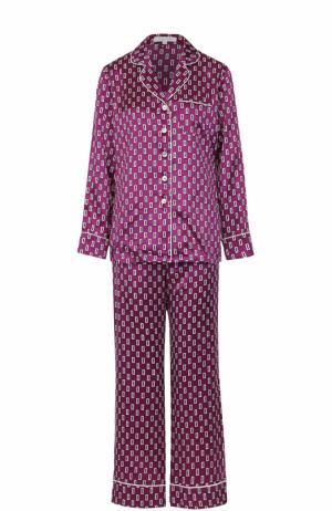 Шелковая пижама с принтом Olivia Von Halle. Цвет: сиреневый