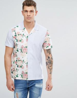 Jaded London Рубашка в полоску с цветочными вставками. Цвет: белый