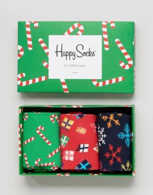 Happy Socks Подарочный набор на Рождество из 3 пар носков. Цвет: мульти