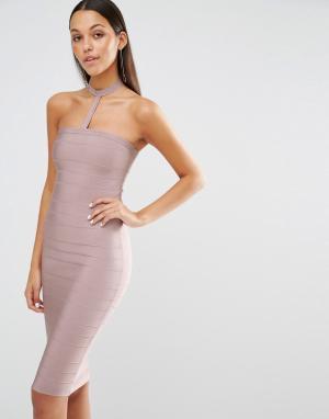 Missguided Облегающее платье‑чокер. Цвет: фиолетовый