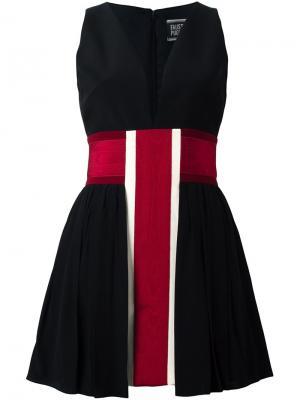 Платье в полоску с V-образным вырезом Fausto Puglisi. Цвет: чёрный