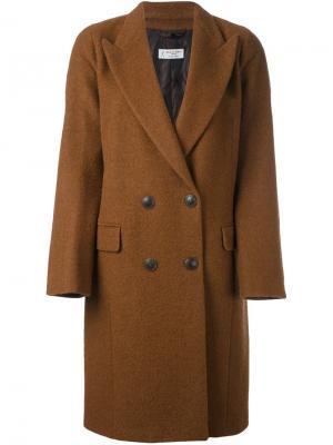 Двубортное пальто Alberto Biani. Цвет: коричневый