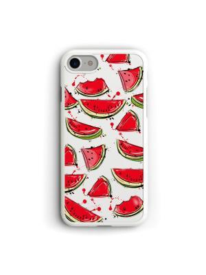 Чехол для iPhone 7/8 Арбузики Boom Case. Цвет: светло-зеленый, белый, красный