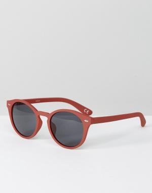 ASOS Круглые солнцезащитные очки в матовой розовой оправе. Цвет: розовый