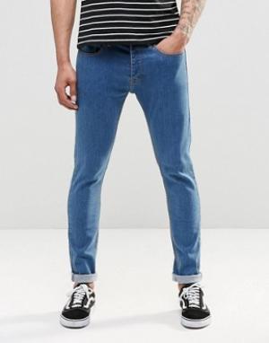 LDN DNM Выбеленные джинсы скинни. Цвет: синий