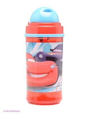 Фляга с соломинкой и держателем  Тачки Stor. Цвет: красный, зеленый, голубой