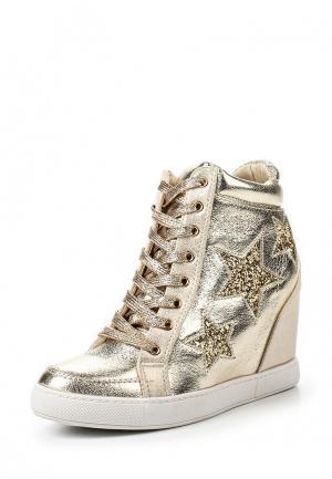 Кеды на танкетке Sweet Shoes. Цвет: золотой