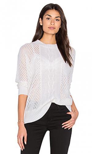 Свободный свитер с круглым вырезом и шахматным рисунком Enza Costa. Цвет: белый