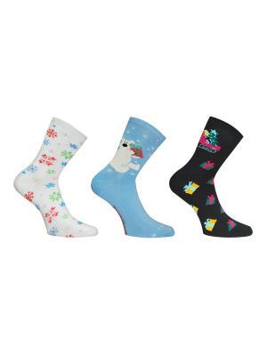 Носки, 3 пары Master Socks. Цвет: белый, черный, голубой