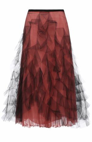 Шелковая плиссированная юбка с сетчатой отделкой Valentino. Цвет: розовый