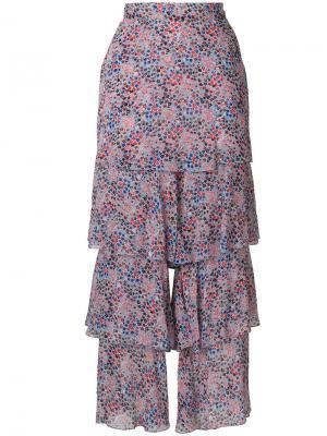 Расклешенные брюки с рюшами Philosophy Di Lorenzo Serafini. Цвет: многоцветный