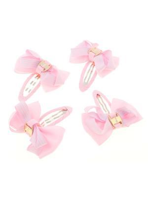 Бантики на заколке, в прерывистую полоску,  светло-розовые, 4 шт Радужки. Цвет: бледно-розовый