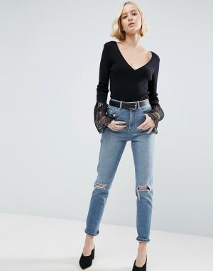 ASOS Выбеленные узкие джинсы в винтажном стиле с завышенной талией и рваным. Цвет: синий