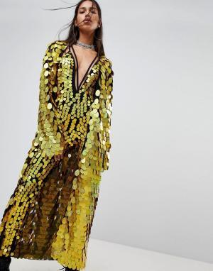 Jaded London Комбинируемое кимоно макси с пайетками. Цвет: золотой
