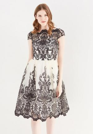 Платье Chi London. Цвет: бежевый