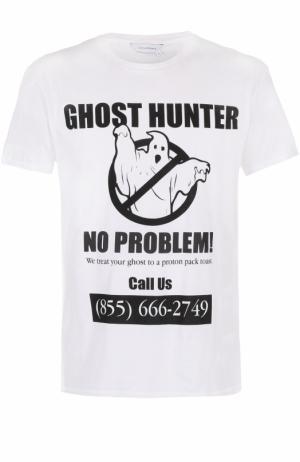 Хлопковая футболка с принтом Elevenparis. Цвет: белый