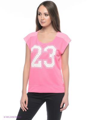 Футболка Oodji. Цвет: розовый, белый