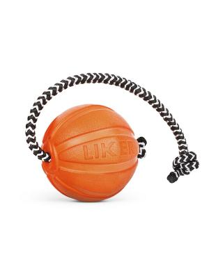 Мячик ЛАЙКЕР5 Корд на шнуре, диаметр 5 см LIKER. Цвет: оранжевый
