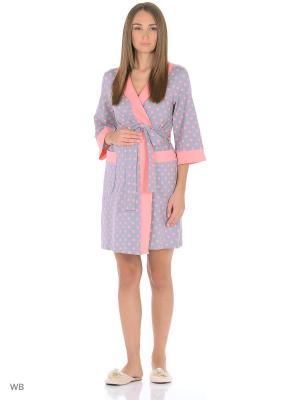 Халат женский для беременных и кормящих Hunny Mammy. Цвет: серый, розовый
