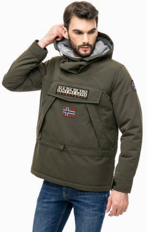 Куртка-анорак с нашивками Napapijri. Цвет: хаки