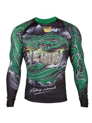 Рашгард Crocodile Black/Green L/S Venum. Цвет: черный, зеленый