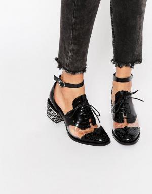 Jeffrey Campbell Кожаные туфли на среднем каблуке с прозрачной вставкой Campbel. Цвет: черный