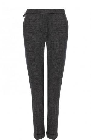 Укороченные брюки из смеси шерсти и шелка с кашемиром Tom Ford. Цвет: серый