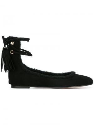 Балетки на шнуровке Rochas. Цвет: чёрный
