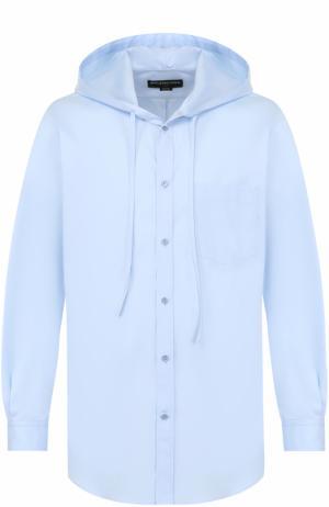 Хлопковая рубашка свободного кроя с капюшоном Balenciaga. Цвет: голубой