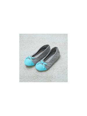 Тапочки-балетки Стеганые (зеленые)(39) Kawaii Factory. Цвет: бирюзовый, серебристый