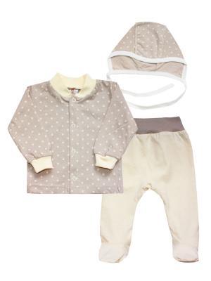 Набор одежды: кофточка, ползунки, чепчик КОТМАРКОТ. Цвет: бежевый