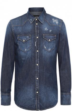 Джинсовая рубашка с потертостями Dsquared2. Цвет: синий