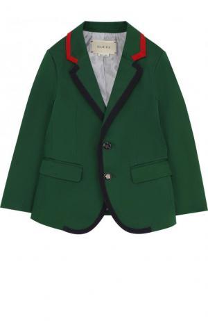Однобортный пиджак из хлопка с контрастной отделкой Gucci. Цвет: зеленый