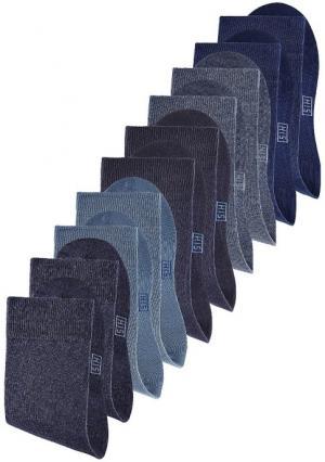 Носки, 10 пар H.I.S.. Цвет: 10х белый, 10х черный, набор c: 2х серо-коричневый+2х бежевый меланжевый+2х сливовый+джинсовый+лиловый+дымчато-розовый+ярко-розовый, набор d: коричневый+темно-синий+синий+голубой+экрю+зеленый+светло-зеленый+лиловый+ярко-розовый+розовый, набор e: 5х темно-синий+5х черный, набор а: 10х цветной, набор в: 10х деним