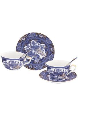 Чайная пара Павлин синий Elan Gallery. Цвет: белый,синий