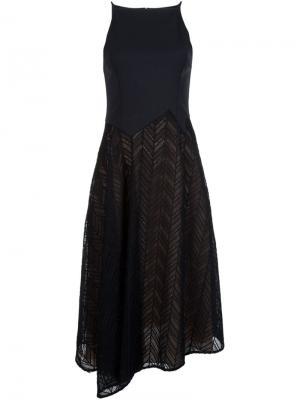 Расклешенное платье с узором-елочкой Jason Wu. Цвет: чёрный