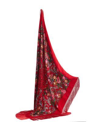 Платок с павлопосадским узором и длинной бахромой, 111 x cm Nothing but Love. Цвет: красный, зеленый, оранжевый
